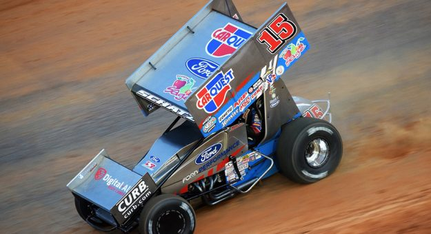 Donny Schatz went fastest during World of Outlaws sprint car practice Thursday at Bristol Motor Speedway. (Dallas Breeze photo)