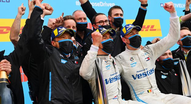 Nyck de Vries celebrates with his team after winning Saturday's Formula E event in Spain. (Sam Bagnall / LAT Images Photo)