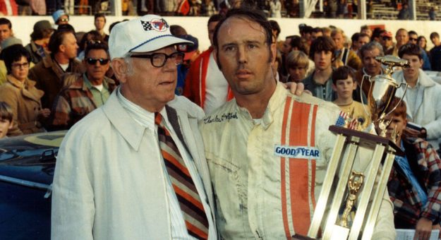 Charlie Glotzbach (right), a four-time NASCAR Cup Series winner, died Friday at his Indiana home. (ARCA photo)