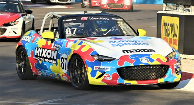 Selin Rollan won Saturday's Idemitsu Mazda MX-5 Cup event on the streets of St. Petersburg. (Al Steinberg Photo)
