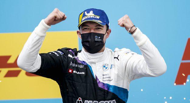 Jake Dennis celebrates his first Formula E win on Sunday in Spain. (Formula E Photo)