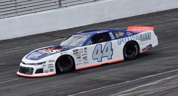Justin Johnson during qualifying Sunday at Orange County Speedway. (Jacob Seelman photo)