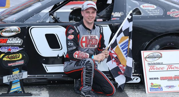 Joey Polewarczyk in victory lane at Stafford Motor Speedway.