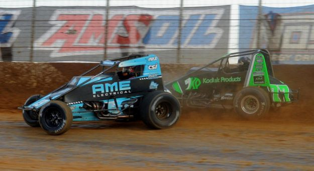 Tanner Thorson races ahead of C.J. Leary Sunday at Path Valley Speedway Park. (Lee Greenawalt Photo)