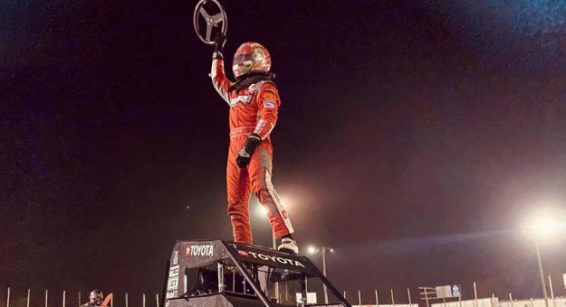 Daison Pursley celebrates his POWRi Lucas Oil National Midget League win on Sunday night at Valley Speedway.