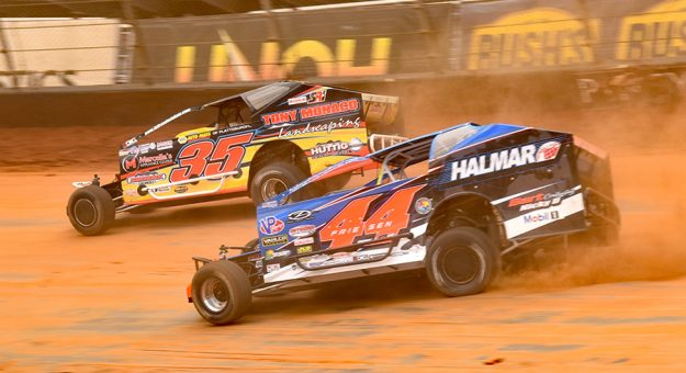 Stewart Friesen (44) chases Mike Mahaney during Sunday's Super DIRTcar Series event at Bristol Motor Speedway. (Paul Arch Photo)