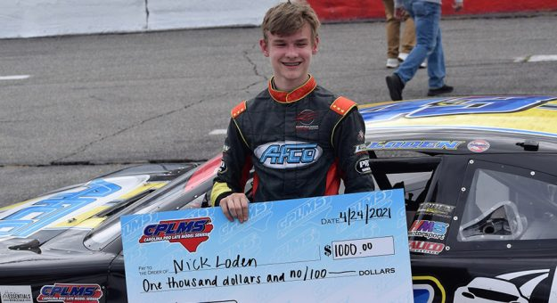 Nick Loden in victory lane at Orange County Speedway Sunday. (Jacob Seelman photo)