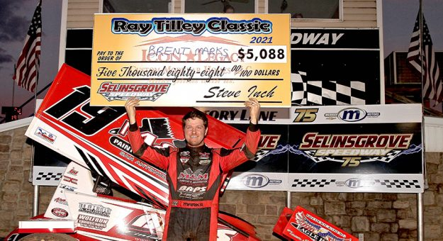 Brent Marks in victory lane Sunday at Selinsgrove Speedway. (Dan Demarco Photo)