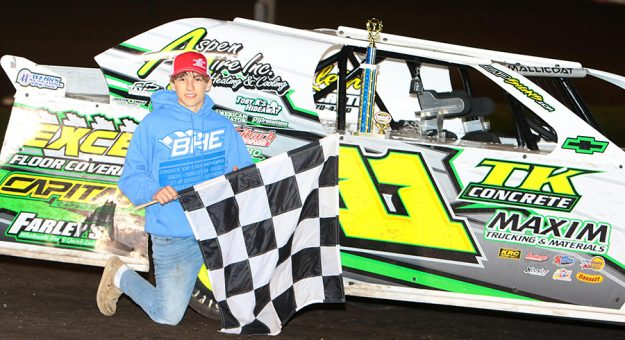 Izac Mallicoat won his career-first Karl Kustoms Northern SportMod feature on April 17 at hometown Boone Speedway. (Bruce Badgley Photo)