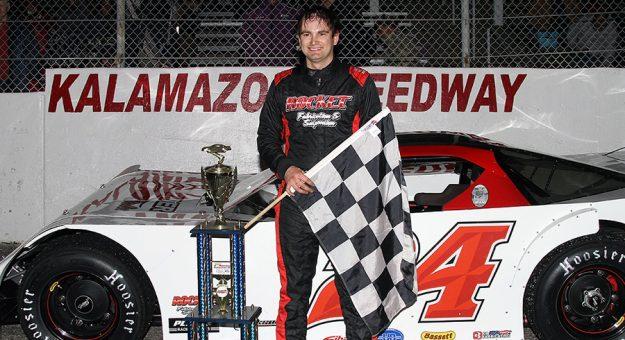 Tyler Roahrig in victory lane at Kalamazoo Speedway. (Jim Denhamer photo)