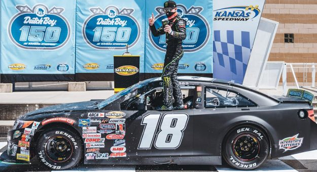Ty Gibbs led every lap of Saturday's ARCA Menards Series event at Kansas Speedway. (Jason Hanna/ARCA Racing Photo)