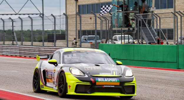 Matt Travis and Jason Hart took the victory in Saturday's Pirelli GT4 America event at Circuit of the Americas.