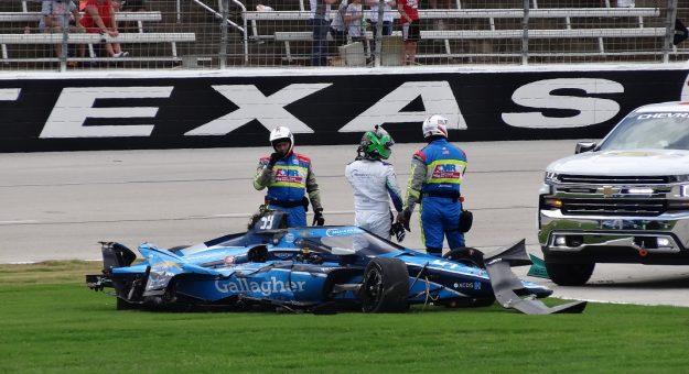2021 Indycar Texas 2 Conor Daly Mangled Race Car Bruce Martin Photo