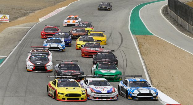 Trans-Am Series competitors right for position during Saturday's TA2 class race at WatherTech Raceway Laguna Seca.