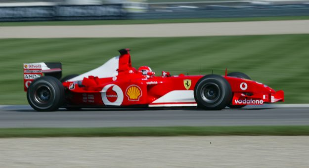 Michael Schumacher during the 2002 United States Grand Prix at Indianapolis Motor Speedway. (IMS Archives Photo)