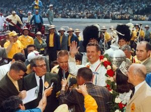 Bobby Unser in victory lane following his victory in the 1968 Indianapolis 500. (IMS Archives Photo)