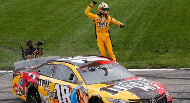 Kyle Busch celebrates winning at Kansas Speedway on Sunday. (Toyota Racing photo)