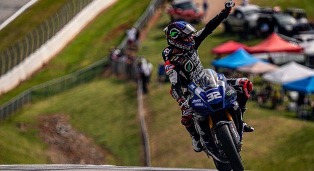 Jake Gagne after winning Sunday at Michelin Raceway Road Atlanta. (Jason Reasin photo)
