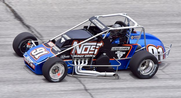 Justin Grant at speed during USAC Silver Crown Series practice at Winchester Speedway. (Randy Crist photo)