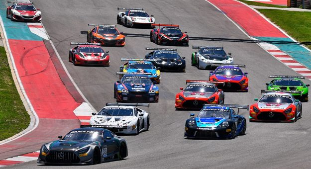 Drivers battle for position during Sunday's GT World Challenge event at Circuit of The Americas.