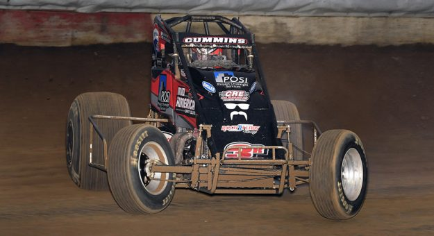 Kyle Cummins on his way to victory Sunday at the Terre Haute Action Track. (David Nearpass Photo)