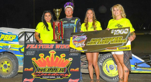 Ethan Dotson won twice during California IMCA Speedweek action Sunday at Keller Auto Speedway. (Tom Macht Photo)
