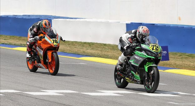 Ben Gloddy (72) held off yesterday's winner Tyler Scott (70) to earn his first-ever SportbikeTrackGear.com Junior Cup race. (Brian J. Nelson Photo)