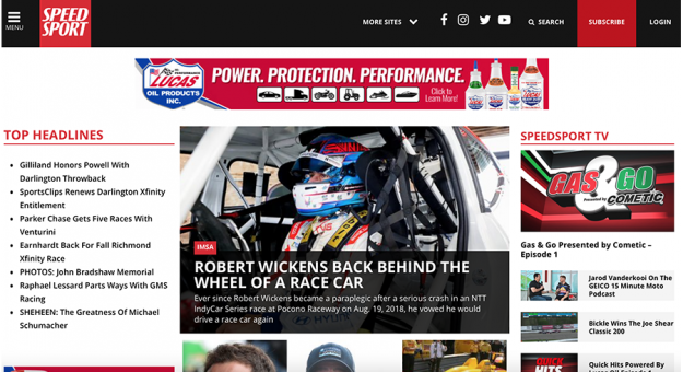 SPEED SPORT launched a new website on Tuesday.