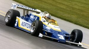 Bobby Unser on track during the 1981 Indianapolis 500, his third and final Indy 500 victory. (IMS Archives Photo)
