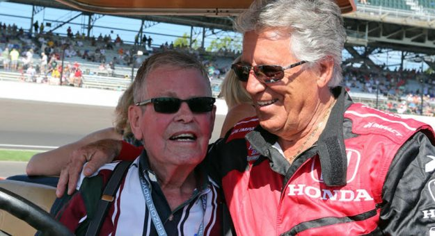 Bobby Unser chats with Mario Andretti during pre-race fesitivites prior to the start of the 2018 Indianapolis 500. (IndyCar Photo)