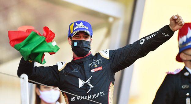 Antonio Felix da Costa celebrates his victory in the Monaco E-Prix. (Simon Galloway / LAT Images Photo)