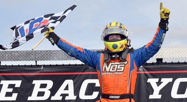 Tyler Courtney earned his fifth-straight USAC AMSOIL National Sprint Car Series victory at Eldora Speedway on Saturday afternoon. (Mike Campbell Photo)