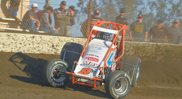 Chase Johnson at Bakersfield Speedway. (Tom Macht photo)