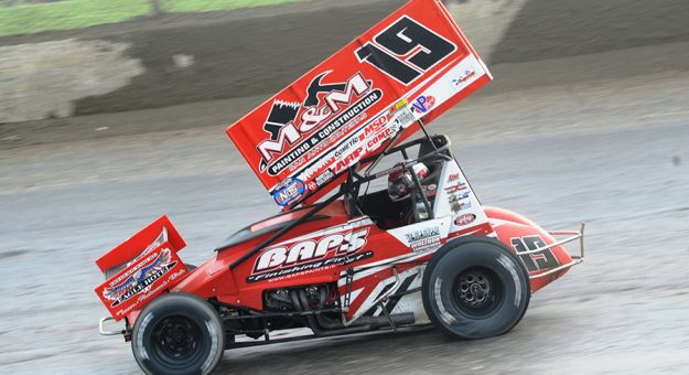 Brent Marks raced to his first World of Outlaws NOS Energy Drink Sprint Car Series triumph of the season Saturday at Eldora Speedway. (Julia Johnson Photo)