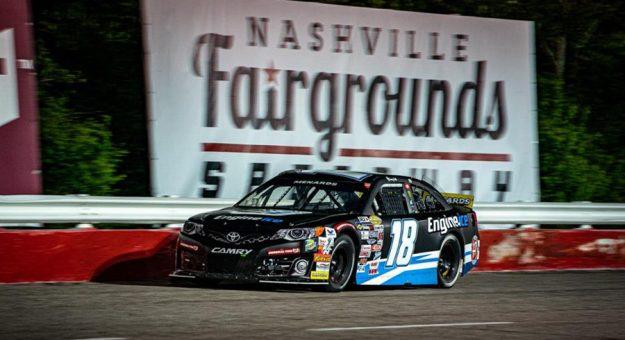 Sammy Smith on his way to victory Saturday at Nashville Fairgrounds Speedway. (Jason Reasin Photo)
