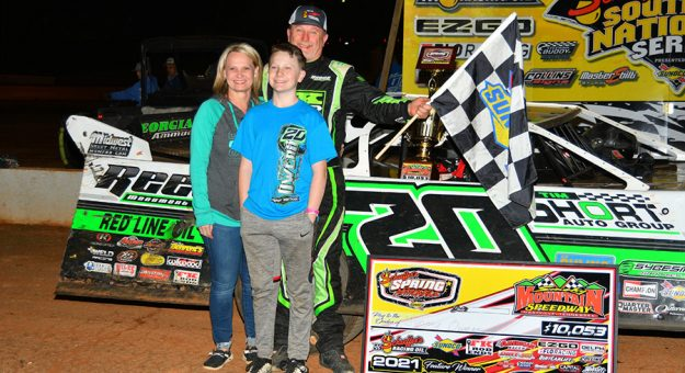 Jimmy Owens in victory lane Saturday at Smoky Mountain Speedway. (Michael Moats Photo)