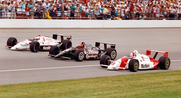 The front row for the 1991 Indianapolis 500 featured Rick Mears (inside), A.J. Foyt (middle) and Mario Andretti (outside). (IMS Archives Photo)