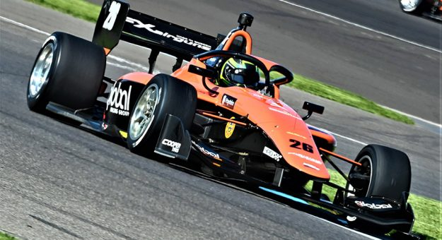 Linus Lundqvist on his way to victory Friday at Indianapolis Motor Speedway. (Al Steinberg Photo)