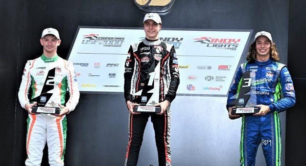 2021 Indy Lights Ims 2 Podium Finishers With Malukas Winning Al Steinberg Photo