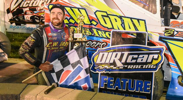 Jason Gray in victory lane Saturday at Bear Ridge Speedway.
