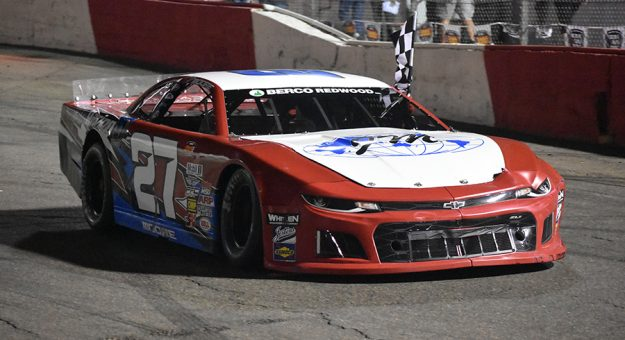 John Moore swept the twin late model features at All American Speedway on Saturday. (Don Thompson Photo)