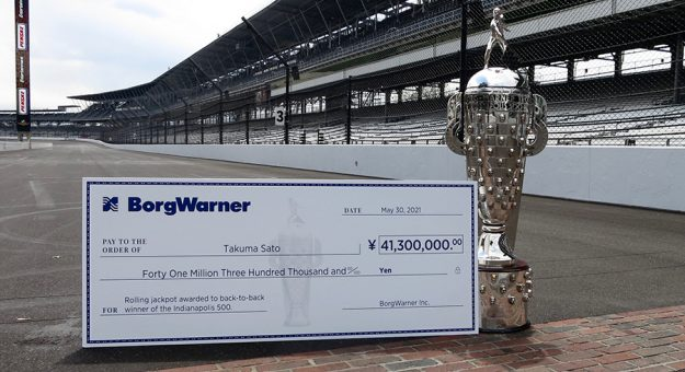 The BorgWarner Rolling Jackpot of $380,000 could go to Takuma Sato should he win his second-straight Indianapolis 500 later this month.
