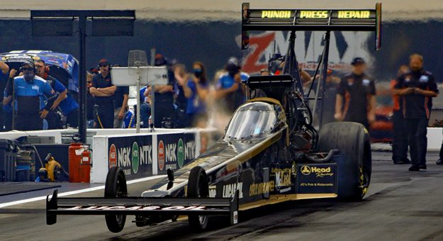 Krista Baldwin impressed by advancing to the second round in the Top Fuel class during the Four-Wide Nationals on Sunday at zMAX Dragway. (John Davison Photo)
