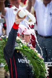 Will Power celebrates his victory in the 2018 Indianapolis 500. (IndyCar Photo)