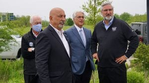 (From left) Roger Penske, Bobby Rahal, Mark Miles and Indiana Governor Eric J. Holcomb during the Rahal Letterman Lanigan Racing shop groundbreaking on Tuesday. (Bruce Martin Photo)