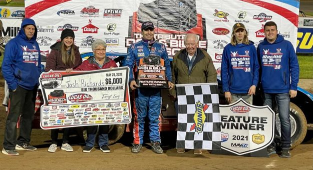 Josh Richards closes a busy Friday at Lucas Oil Speedway in victory lane. (GS Stanek Racing Photography)