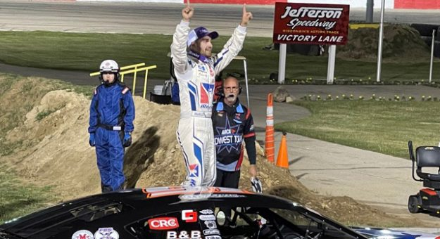 Ty Majeski in victory lane Saturday at Jefferson Speedway.
