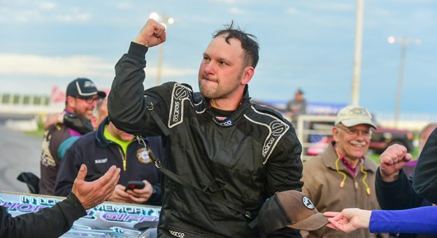 Michael Barnes emerges from his car after winning Saturday's International Classic at Oswego Speedway. (Dylan Friebel Photo)