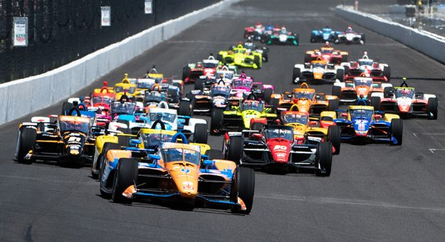 Scott Dixon (9) leads at the start of the 105th Indianapolis 500. (IndyCar Photo)