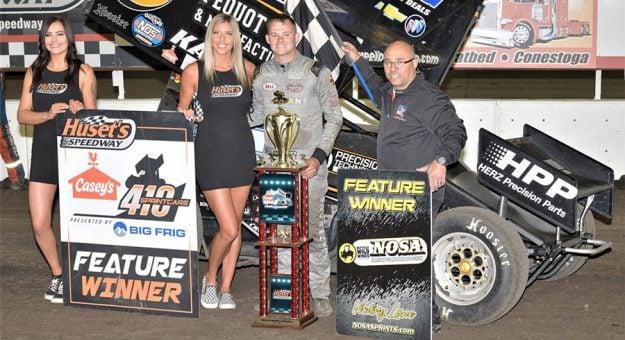 Parker Price-Miller in victory lane Monday at Huset's Speedway. (Ron Kocak Photo)